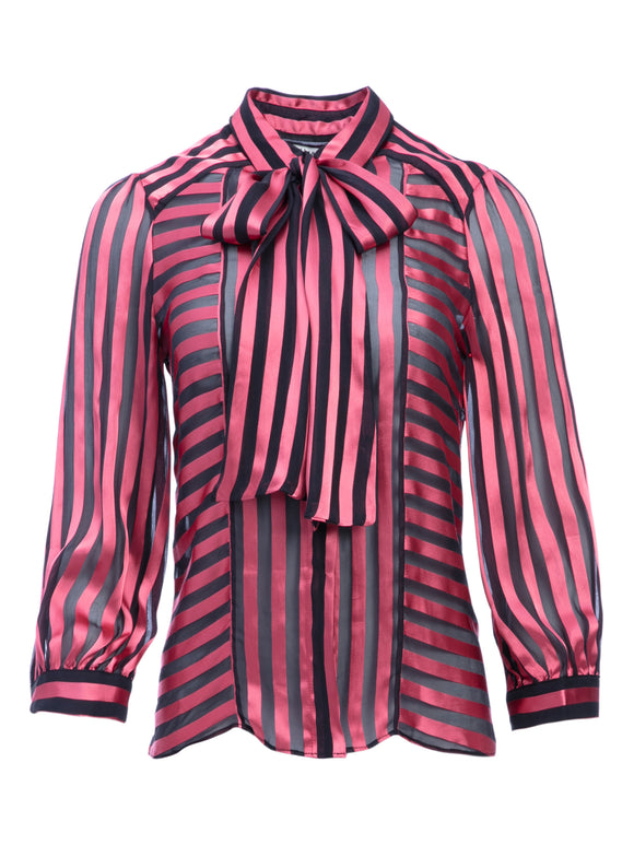 Stunning Stripped WILLIS TIE NECK BUTTON DOWN Blouse - Mishon's Galleria