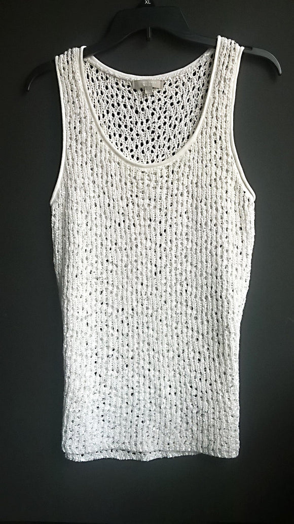 JOAN VASS White Crochet Sleeveless Sweater with Scattered Silver Sequins New  L - Mishon's Galleria