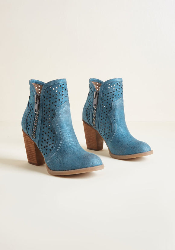 Corralled Cutouts Heeled Booties in Teal or Brown - Mishon's Galleria