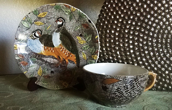 GIEN FRANCE Rare Hand Painted Rambouillet Partridge Tea Cup & Saucer - Mishon's Galleria