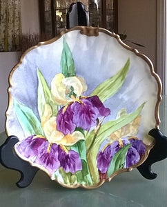 ANTIQUE RARE 1890 - 1914 Porcelain Limoges Flambeau France Plate, Hand Painted and signed by Artist Engre - Mishon's Galleria