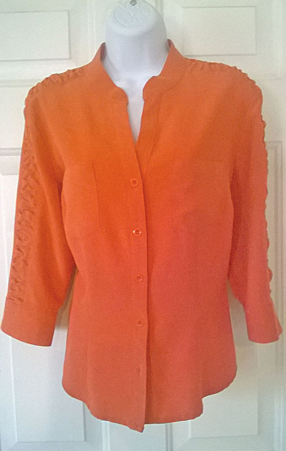 KATHY CHE NEW Beautiful Orange Blouse V-Neck Tuck 'N Roll Stitching Design - Med - Mishon's Galleria