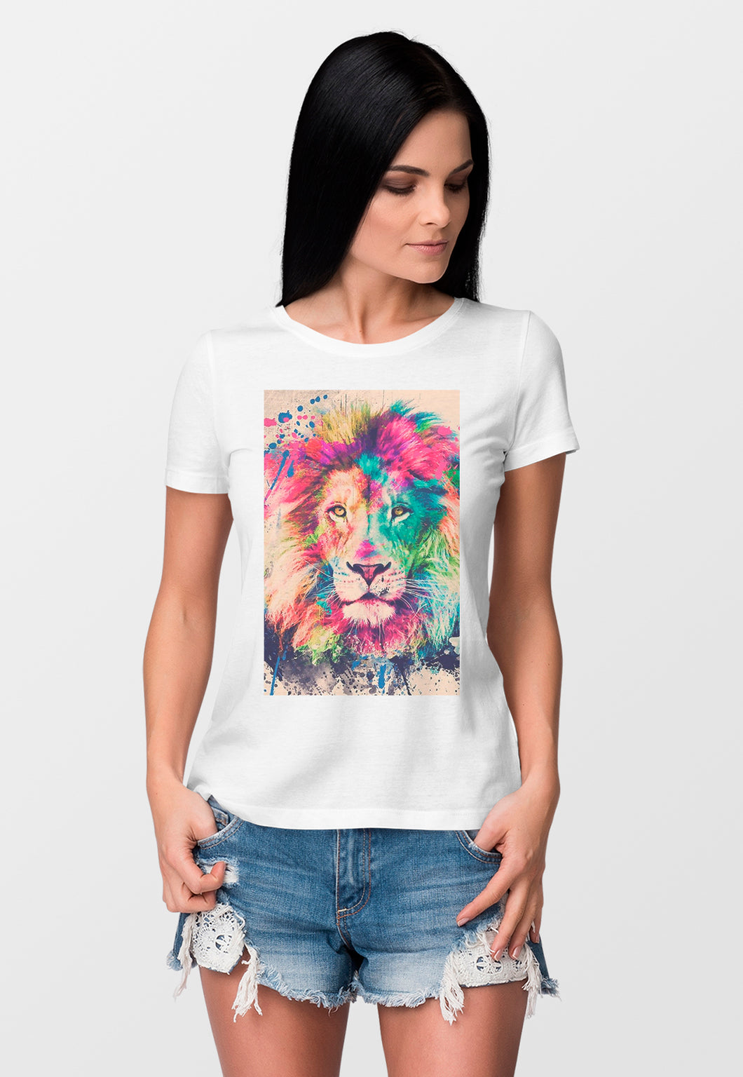 Camiseta Feminina Estampada Mirat - Watercolor Lion