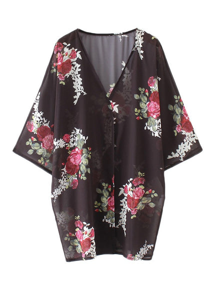 Sexy Women Floral Print Cardigan Open Front Maxi Coat Flare Sleeve Summer Boho Long Wear Black/Grey