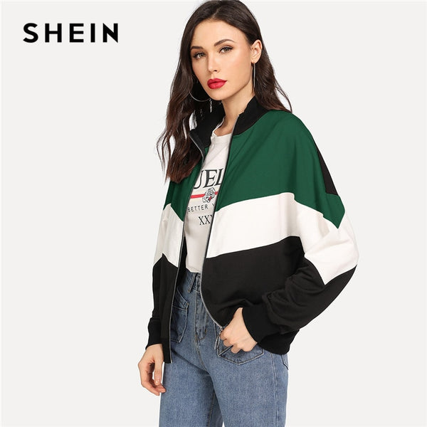 SHEIN Multicolor Casual Colorblock Zip Up Drop Shoulder Cut And Sew Funnel Neck Jacket Autumn Women Leisure Women Coat Outerwear
