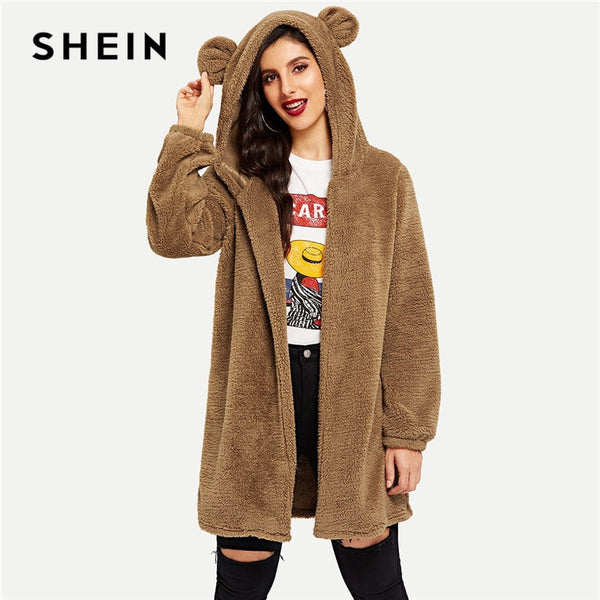 SHEIN Brown Modern Lady Open Front Hooded Teddy Highstreet Preppy Knee Length Plain Coat 2018 Autumn Women Party Outerwear