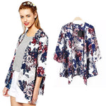 New Women Outerwear Open Front Floral Print Batwing 3/4 Sleeve Irregular Hem Thin Vintage Loose Cardigan Coat Blue