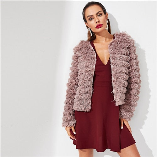 SHEIN Pink Open Front Layered Fringe Coat Solid Long Sleeve Modern Lady Faux Fur Coat 2018 Winter Party Women Coats Outerwear