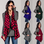 Plus Size Women Sleeveless Plaid Check Waistcoat Vest Jacket Cardigan Blouse Top