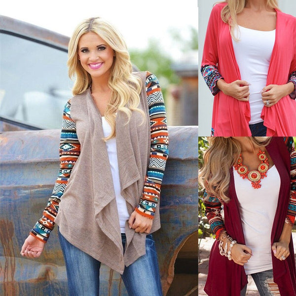 Womens Long Sleeve Sweater Outwear Casual Cardigan Irregular Jacket Coat Top