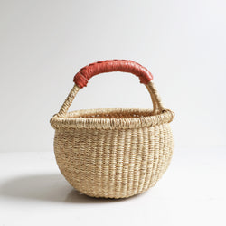 Baby Bolga Basket with Rust Leather Handle