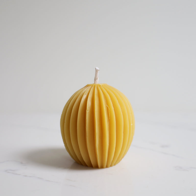 honey candles fluted sphere beeswax candle