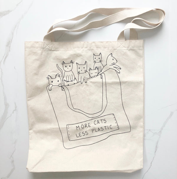 More Cats, Less Plastic - Natural Tote