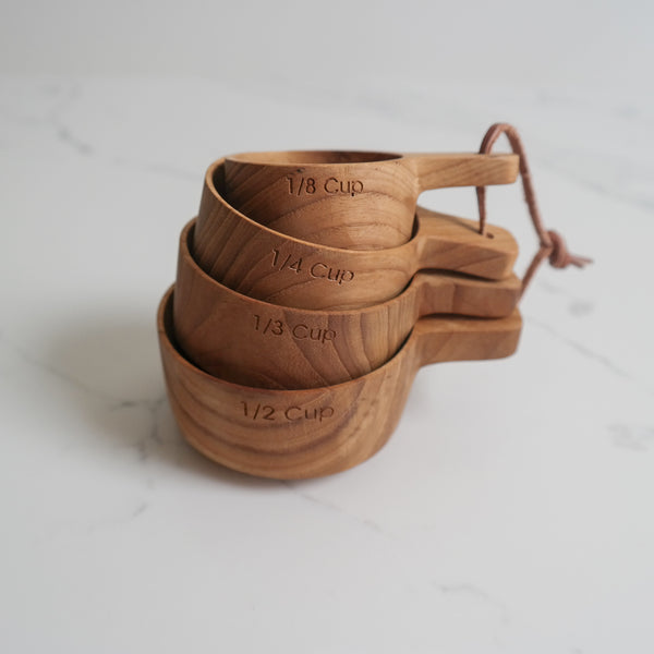 Teak Measuring Cups