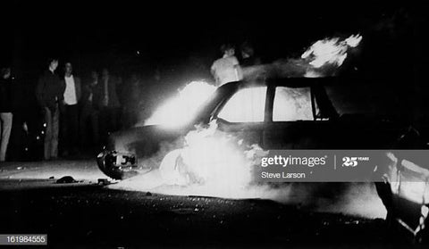 Cop Car on Fire at Red Docks 1971