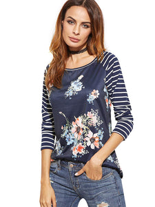 46543152a0 Romwe Women's Floral Print Short Sleeve Tops Striped Casual Blouses T Shirt