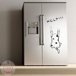 Fashion Cartoon Cat Refrigerator Kitchen Wall Stickers