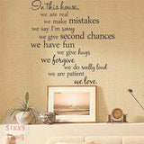 In This House Removable Art Mural Wall Decal Sticke