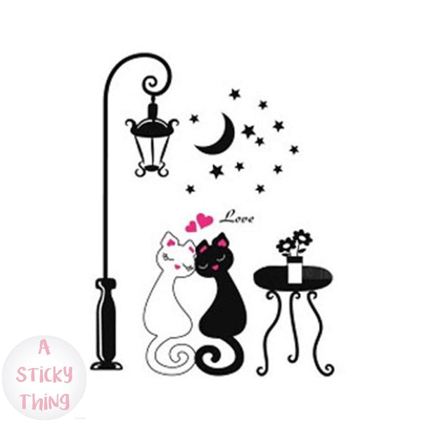 Love Cats Under the Streetlight Wall Sticker Removable
