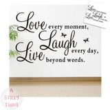 Love Every Moment Removable Wall Stickers Decals