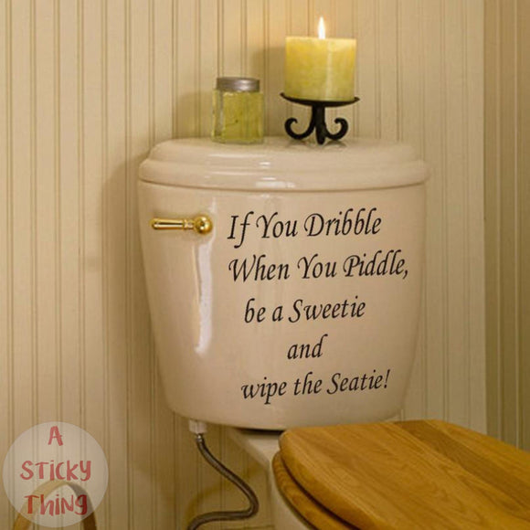 Toilet Seat Quote Wall Sticker Vinyl Art Bathroom Decals