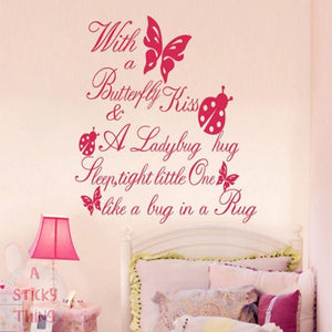 Butterfly Kiss Ladybug Hug Quote Wall Sticker