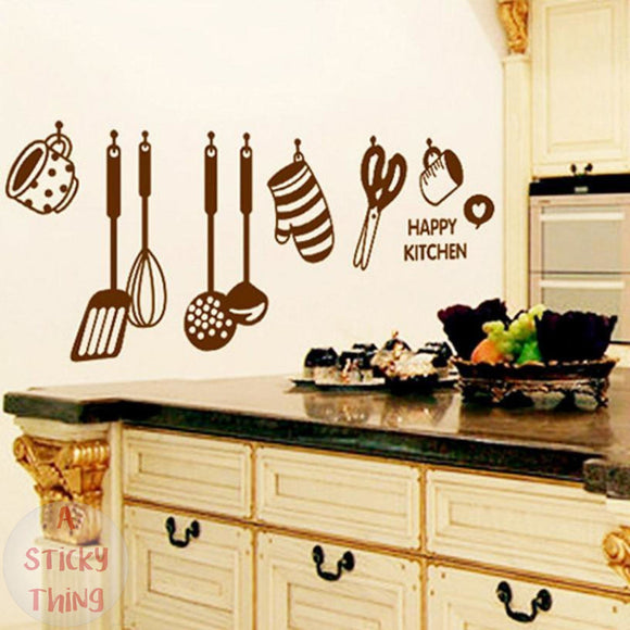 Super Deal wall stickers DIY Removable Happy Kitchen Wall