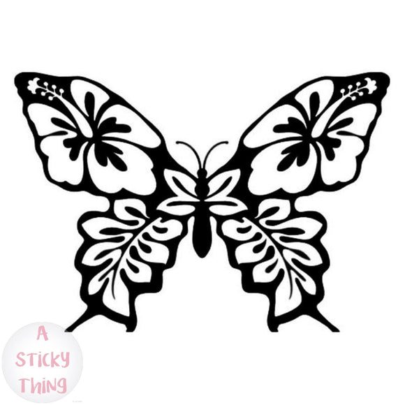 Vinyl Car Styling Butterfly Hibiscus Flower Creative Window Decals Car Sticker Black/Silver