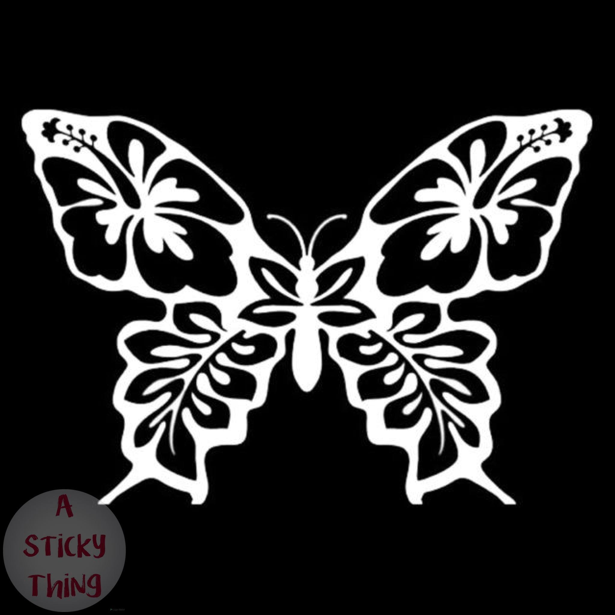 A sticky thing vinyl car styling butterfly hibiscus flower creative window decals car sticker blacksilver izmirmasajfo