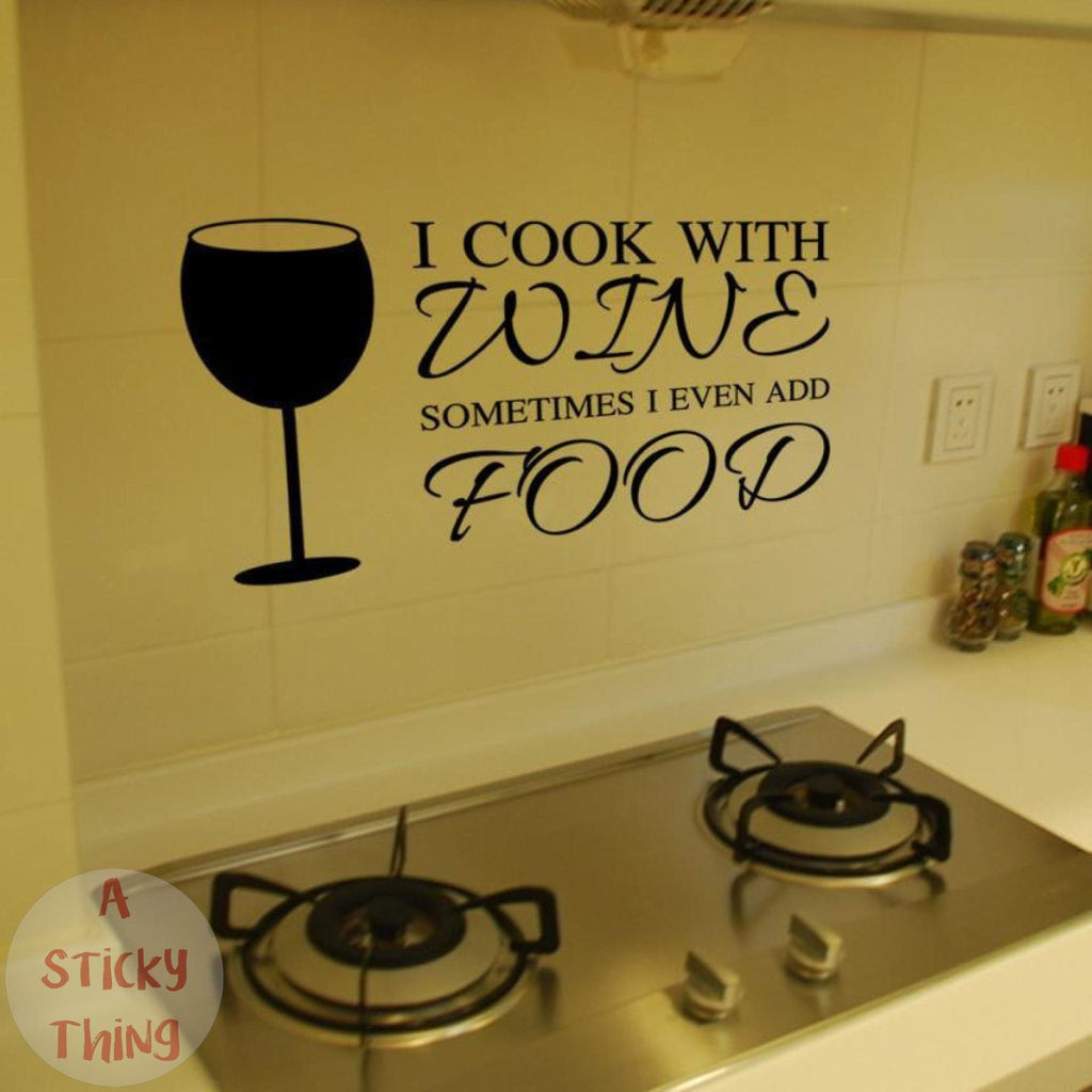 Cook with Wine Wall Stickers Kitchen - A Sticky Thing