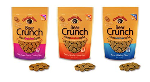 Charlee Bear Grain Free Bear Crunch Treats 3 Flavor Variety Bundle: (1) Bacon & Blueberry Flavor, (1) Chicken, Pumpkin & Apple Flavor, and (1) Turkey, Sweet Potato & Cranberry Flavor