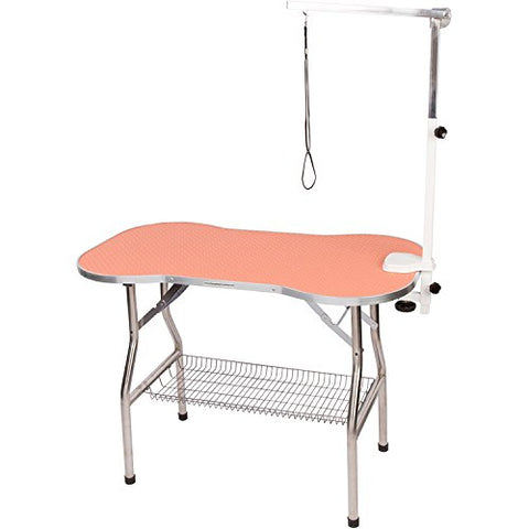 Flying Pig Heavy Duty Stainless Steel Pet Dog Cat Bone Pattern Rubber Surface Grooming Table with Arm/noose