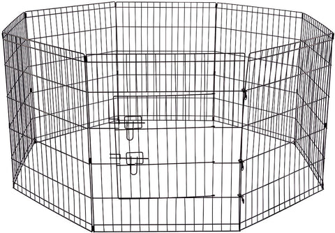 Pet Exercise Pen Tube Gate w/ Door - (8 Panel Playpen) Heavy Duty Folding Metal Out-Door Fence