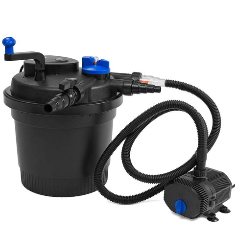 XtremepowerUS Koi Pond Bio Filter and 1638GPH Pump Set Bio UV-C Press