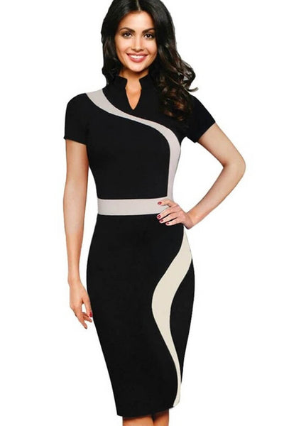 One-piece Pencil Sheath Stand Neck Dress