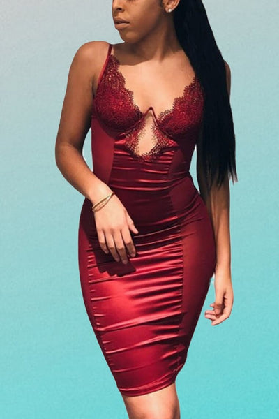 Mesh Sexy Bustier Satin Lace Side Sheer Bodycon Dress