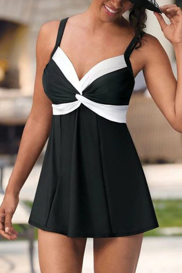 Two Piece Retro Black Tankini Swimsuit for Women