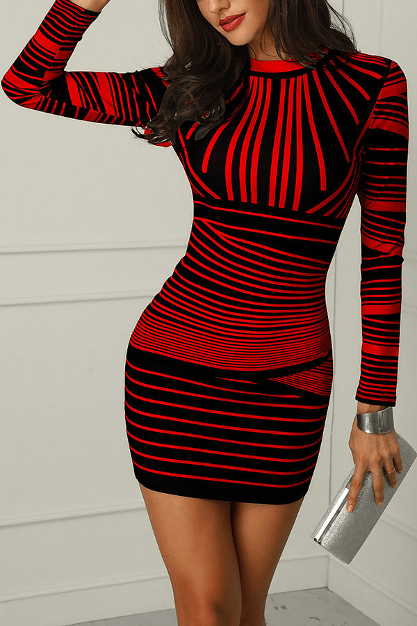 Gradient Color Striped Bodycon Party Dress