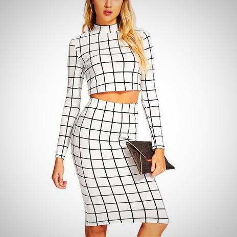 Myla Plaid Long Sleeve Set -  from ELZAVY Women Clothing and Classic Women Apparel
