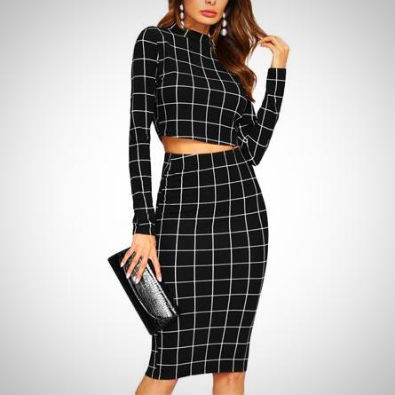 Ella Crop Grid Set -  from ELZAVY Women Clothing and Classic Women Apparel