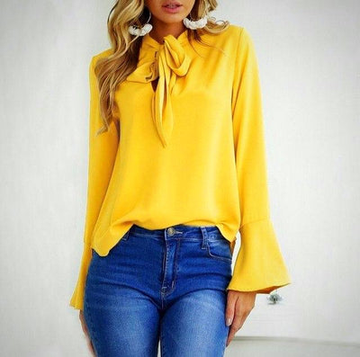 Avery Bow Chiffon Blouse