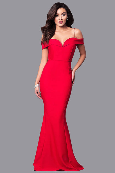 Straps V-Neck Off Shoulder Bodycon Red Dress