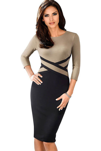 Vintage Contrast Color Patchwork Bodycon Dress