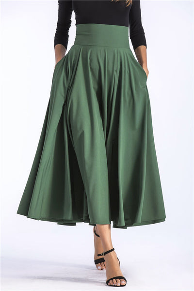 Vintage Slit Long Maxi Skirt Pleated Flared Pockets