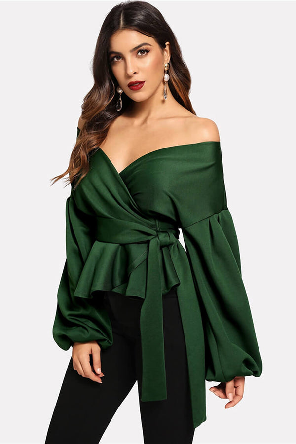 Off the Shoulder Blouse Lantern Sleeve Surplice