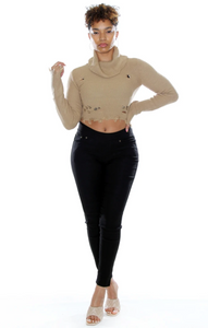 Distressed Crop Turtle Neck Sweater