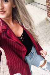 striped blazer jacket outfit