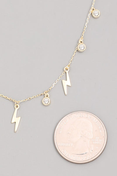 Sterling Silver Lightning Bolt Choker Necklace