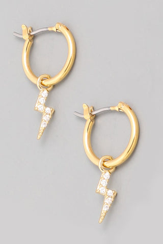 Mini Lightning Bolt Hoop Earrings