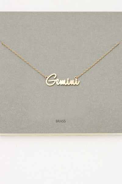 Gold Cursive Zodiac Necklace